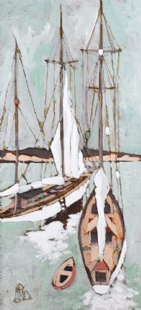 SAIL BOATS IN HARBOUR by Markey Robinson at Ross's Auctions
