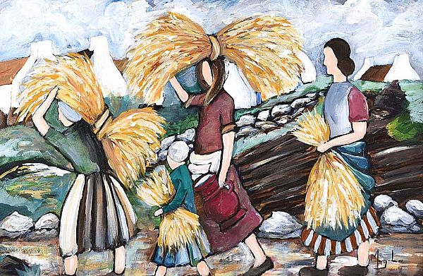 HARVESTING WHEAT by Irish School at Ross's Online Art Auctions
