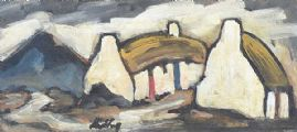 IRISH THATCHED COTTAGES by Markey Robinson at Ross's Auctions