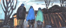 THREE SHAWLIES ON THE PATH HOME by Markey Robinson at Ross's Auctions