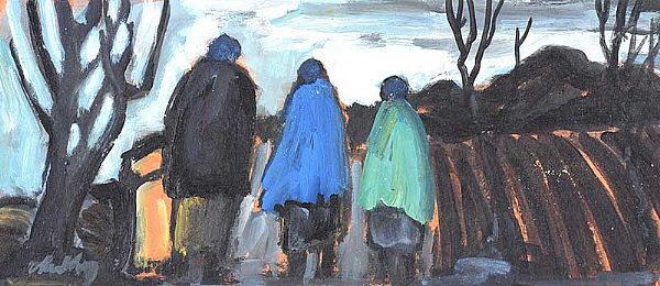 THREE SHAWLIES ON THE PATH HOME by Markey Robinson at Ross's Online Art Auctions
