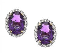 18CT GOLD AMETHYST AND DIAMOND EARRINGS