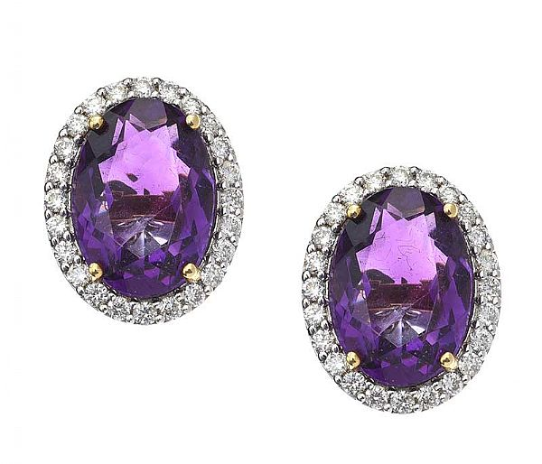 18CT GOLD AMETHYST AND DIAMOND EARRINGS at Ross's Online Art Auctions