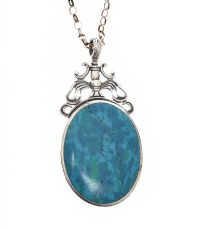 SILVER ONYX AND TURQUOISE PENDANT AND CHAIN at Ross's Jewellery Auctions
