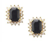 18CT GOLD SAPPHIRE AND DIAMOND CLUSTER EARRINGS at Ross's Jewellery Auctions