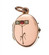 GOLD-TONE GARNET AND SEED PEARL LOCKET at Ross's Jewellery Auctions