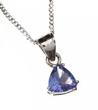 SILVER CHAIN WITH TANZANITE PENDANT at Ross's Jewellery Auctions