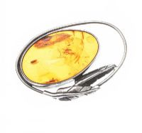 STERLING SILVER AMBER BROOCH at Ross's Jewellery Auctions