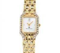 BERNARD PLOT 14CT GOLD DIAMOND WRIST WATCH at Ross's Jewellery Auctions