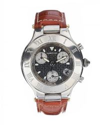 CARTIER 21 CHONOGRAPH STAINLESS STEEL WRIST WATCH at Ross's Jewellery Auctions