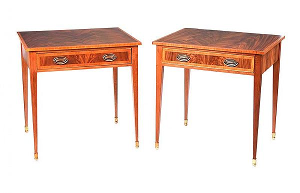 PAIR OF INLAID MAHOGANY LAMP TABLES at Ross's Online Art Auctions