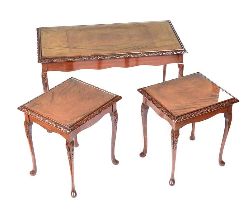 WALNUT NEST OF THREE TABLES at Ross's Online Art Auctions