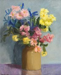 STILL LIFE, FLOWERS IN A STONEWARE JUG by Maurice Canning  Wilks ARHA RUA at Ross's Auctions