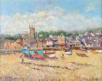 FISHING BOATS ON THE BEACH by John Ambrose at Ross's Auctions