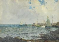 SAILING OFF GROOMSPORT HARBOUR by James Humbert Craig RHA RUA at Ross's Auctions