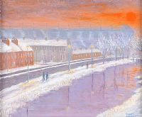 SNOWY ROYAL CANAL NEAR CROKE PARK by Sean Loughrey at Ross's Auctions