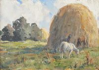 YOUNG HORSES GRAZING by James Humbert Craig RHA RUA at Ross's Auctions