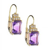18CT GOLD AMETHYST AND DIAMOND EARRINGS at Ross's Jewellery Auctions