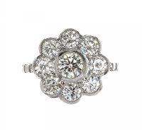 18CT WHITE GOLD DIAMOND CLUSTER RING at Ross's Online Art Auctions