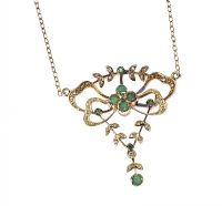 9CT GOLD EMERALD AND DIAMOND PENDANT AND CHAIN at Ross's Jewellery Auctions