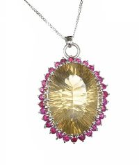 14CT WHITE GOLD RUBY AND QUARTZ PENDANT AND CHAIN at Ross's Jewellery Auctions