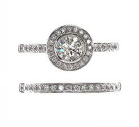 18CT WHITE GOLD DIAMOND HALO RING AND BAND at Ross's Jewellery Auctions