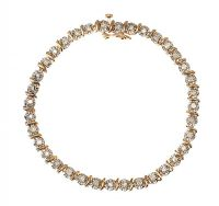 9CT GOLD DIAMOND TENNIS BRACELET at Ross's Jewellery Auctions