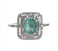9CT WHITE GOLD EMERALD AND DIAMOND RING at Ross's Online Art Auctions