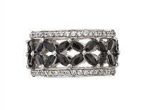 GEORGINI RHODIUM-PLATED BLACK STONE RING at Ross's Jewellery Auctions