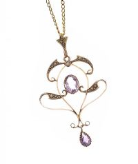 EDWARDIAN 9CT GOLD AMETHYST AND PEARL PENDANT ON 9CT GOLD CHAIN at Ross's Jewellery Auctions