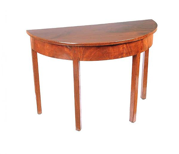 GEORGIAN MAHOGANY DEMI LUNE HALL TABLE at Ross's Online Art Auctions