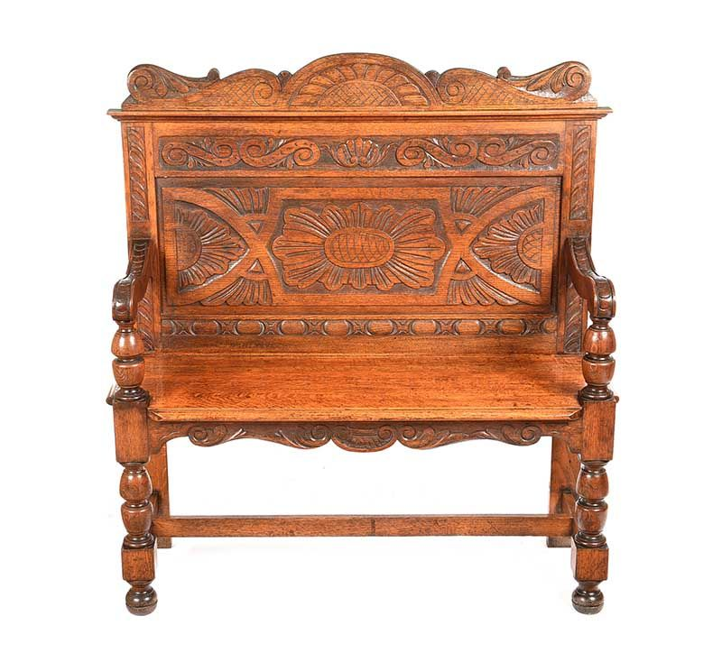 VICTORIAN CARVED OAK MONK'S BENCH at Ross's Online Art Auctions