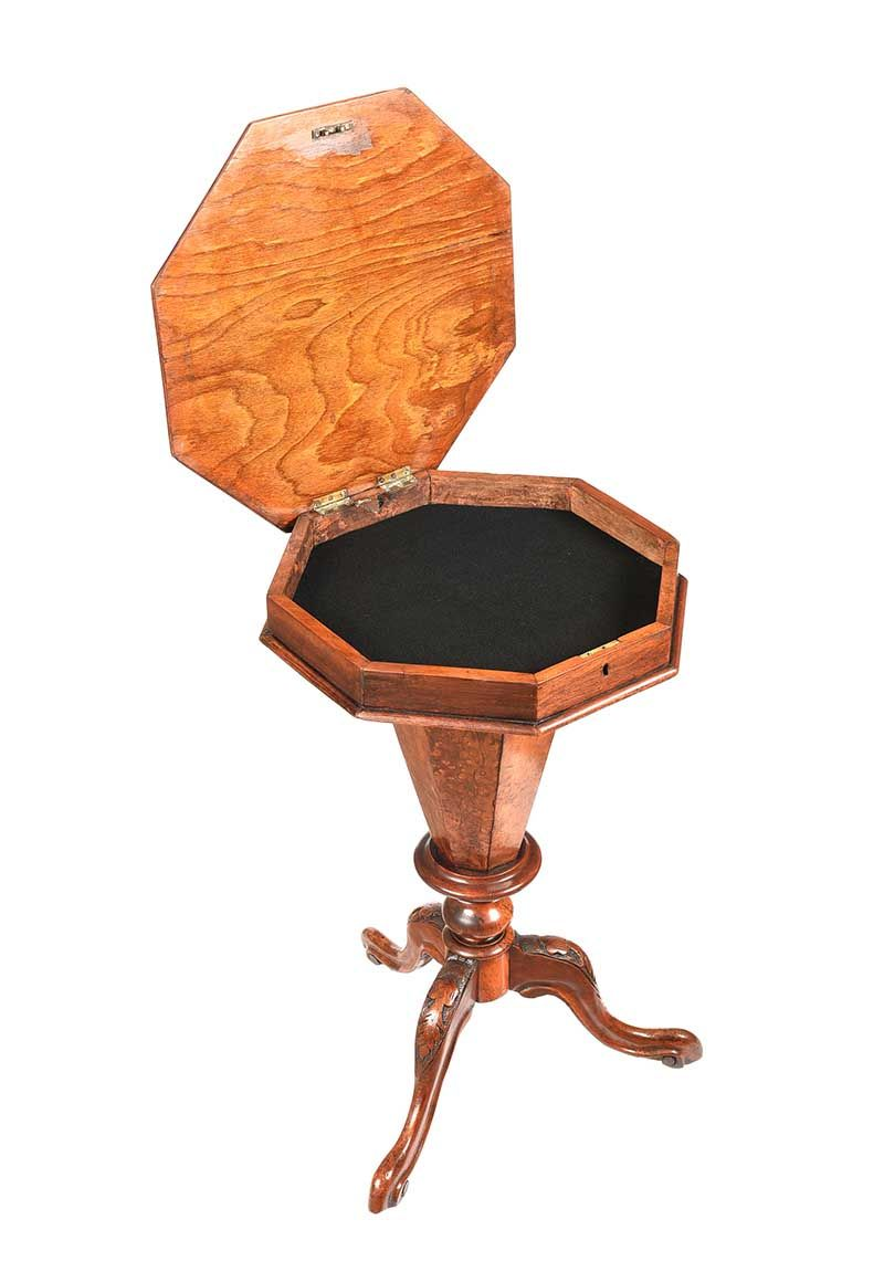 VICTORIAN WALNUT PEDESTAL JEWELLERY TABLE at Ross's Online Art Auctions