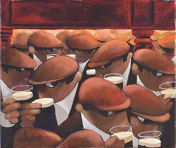 A PINT OF STOUT IN AN EAST BELFAST PUB by George Callaghan at Ross's Online Art Auctions