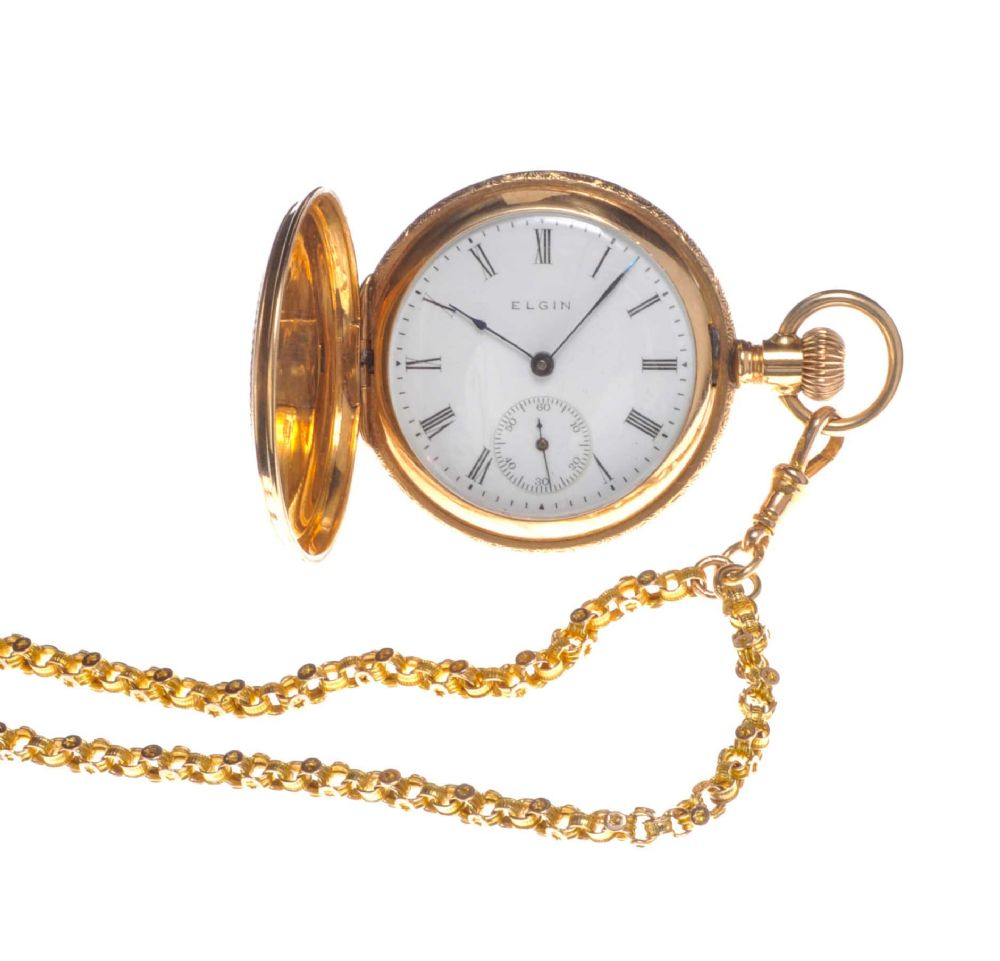 14ct Gold Elgin Lady S Fob Watch With A 9ct Gold Chain