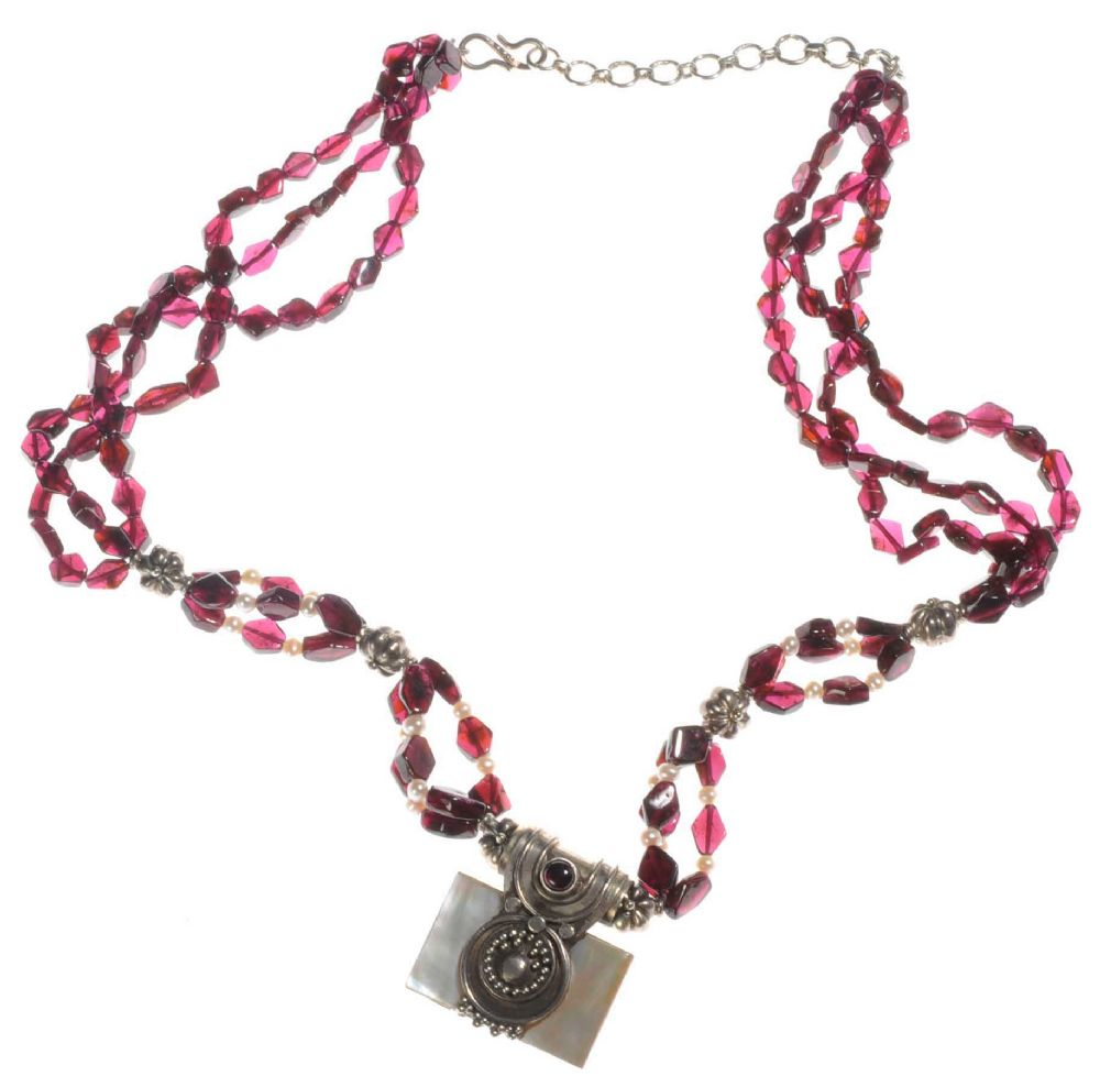 silver garnet and pearl multi strand beaded necklace with