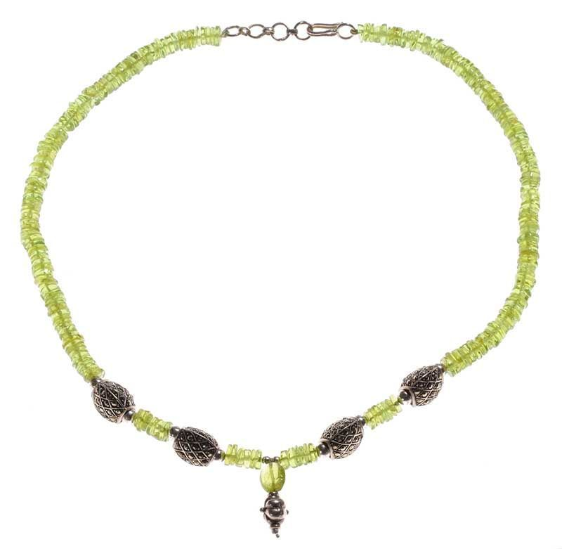 sterling silver peridot and marcasite pendant necklace
