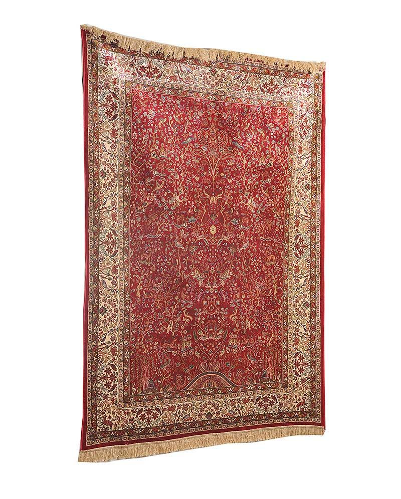Red Ground Cashmere Rug With Tree Of Life Design