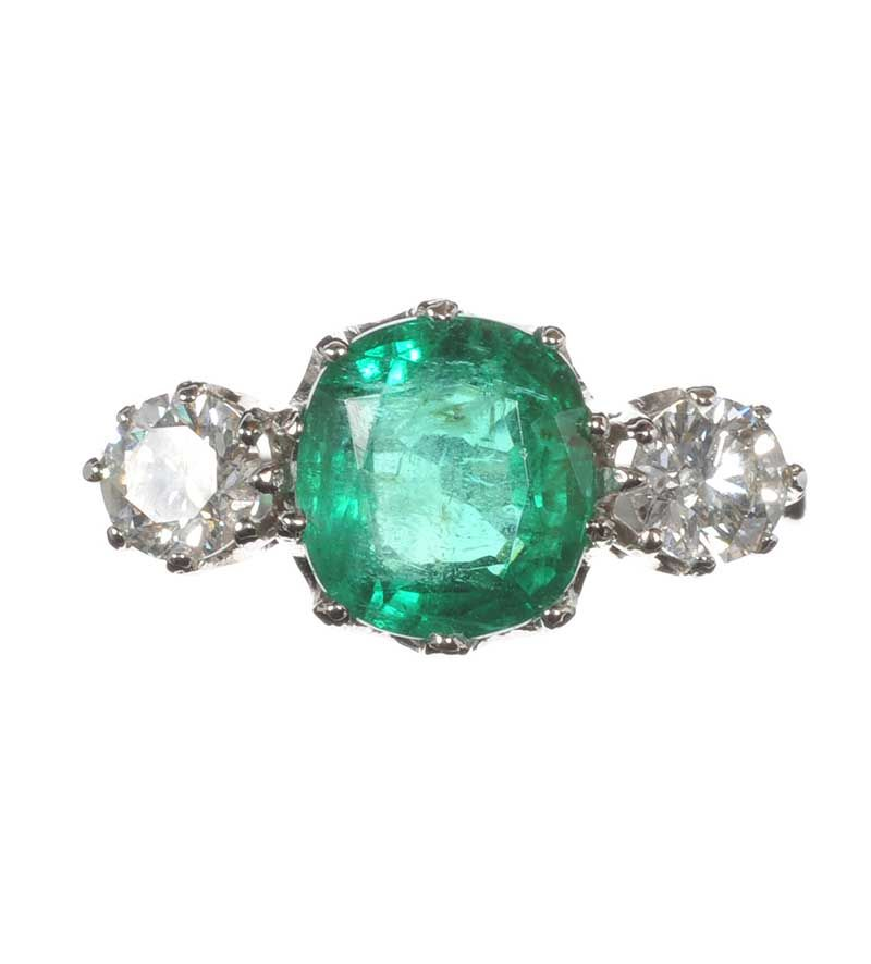 Platinum Emerald And Diamond Three Stone Ring