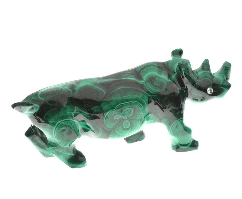 CARVED MALACHITE RHINO ORNAMENT WITH DIAMOND-SET EYES