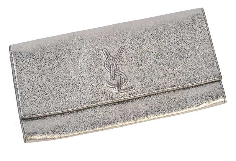 196b475f8b91 VINTAGE 1980 S YSL CLUTCH BAG IN METALLIC SILVER LEATHER at Ross s Online  Art Auctions ...