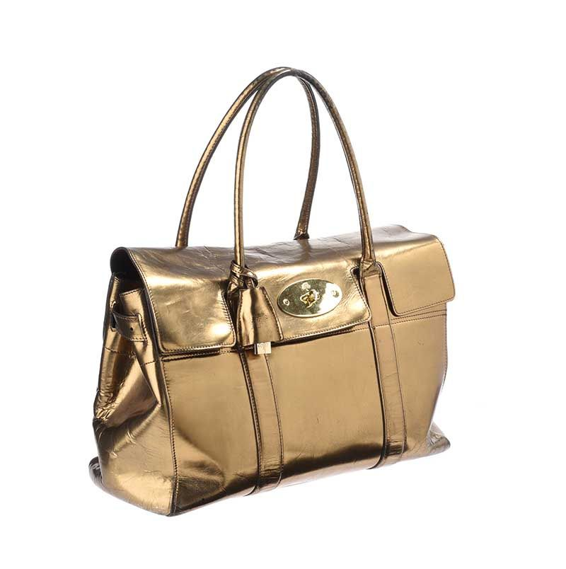 MULBERRY GOLD MIRROR METALLIC LEATHER BAYSWATER BAG at Ross s Online Art  Auctions ... f1e410a56ed8d