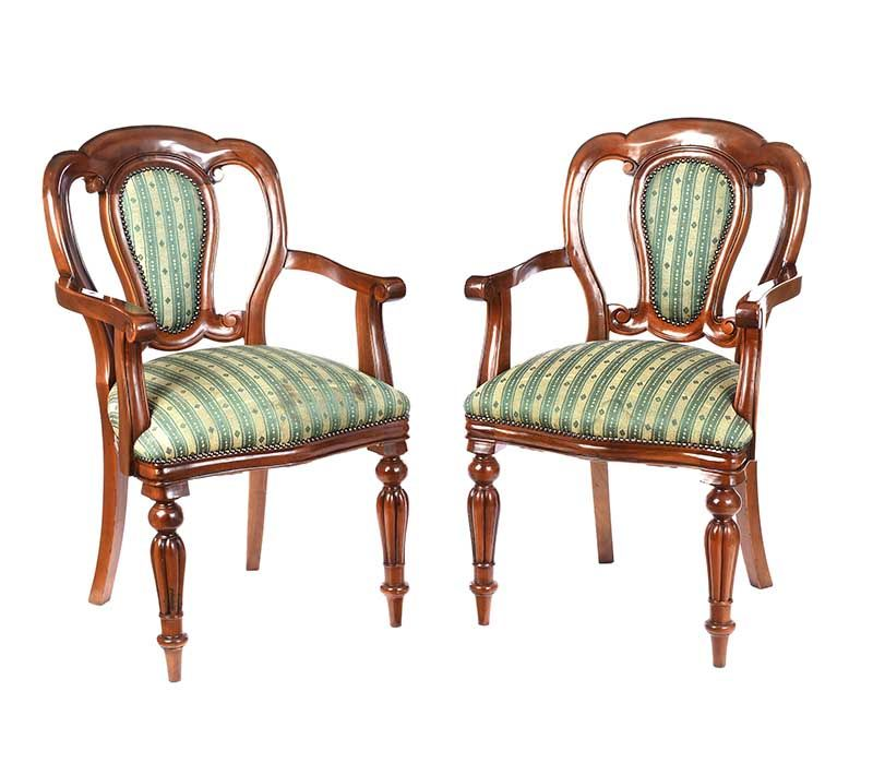 PAIR OF BALLOON BACK ARMCHAIRS