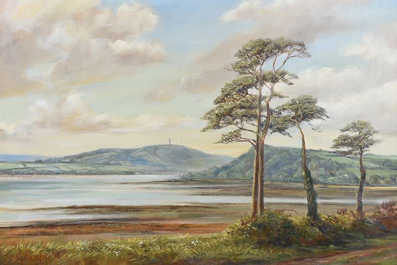 SCRABO TOWER ACROSS STRANGFORD LOUGH by Vittorio Cerefice at Ross's Online Art Auctions
