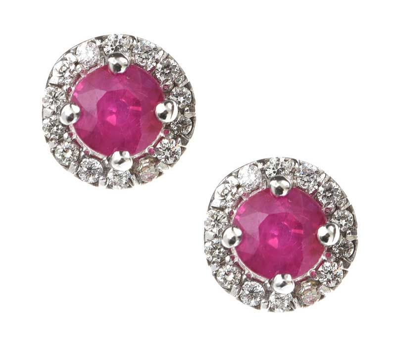 18CT WHITE GOLD RUBY AND DIAMOND EARRING at Ross's Online Art Auctions