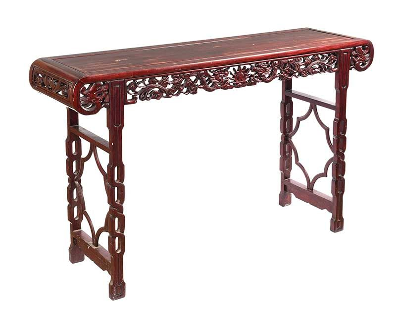 CHINESE CHERRYWOOD CONSOLE TABLE at Ross's Online Art Auctions