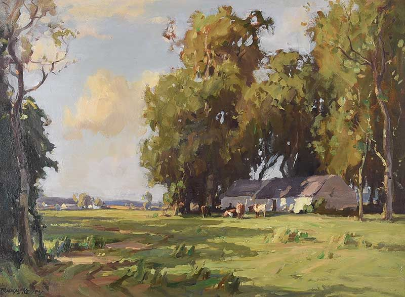 CATTLE GRAZING BY THE COTTAGE by Frank McKelvey RHA RUA at Ross's Online Art Auctions